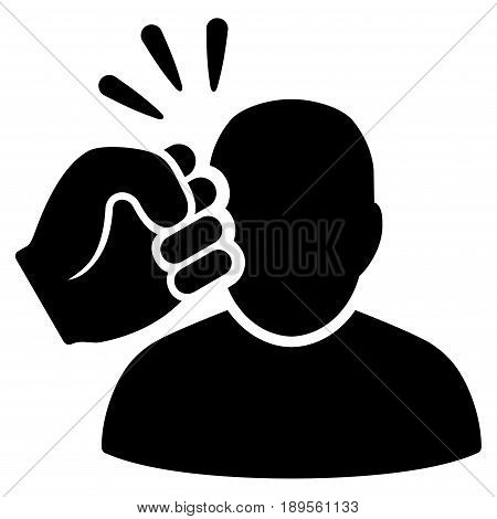 Black Crime Violation Fist Strike interface toolbar icon. Vector pictogram style is a flat symbol on diagonal hatch transparent background.