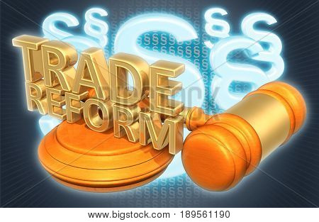 Trade Reform Law Concept 3D Illustration