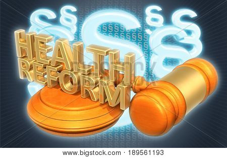 Health Reform Law Concept 3D Illustration