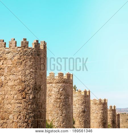 A view over the walls of Avila, an old town in Spain, square photo