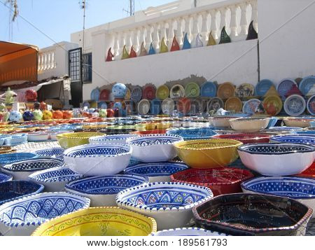 Colorful eramic from Tunis sold on a markets as souvenir