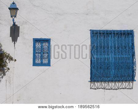 beautiful vintage painted shutter in a village Sidi Bouzid Tunis