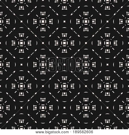 Subtle texture vector, monochrome seamless pattern. Geometric abstract background, simple figures thin lines squares repeat texture. Delicate circular mesh seamless pattern. Stylish dark repeat design for prints background texture, covers, web