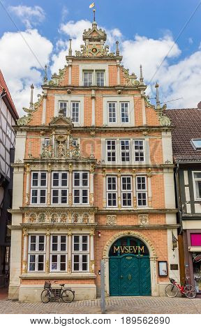 HAMELN, GERMANY - MAY 22, 2017: Decorated facade of the Leisthaus Museum in Hameln, Germany