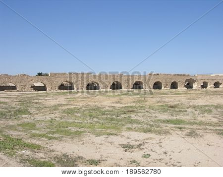Old vintage architecture Aquaduct in Cartage Tunis