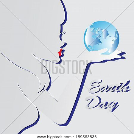 Earth Day. Vector illustration silhouette of a girl with the words blue planets EPS 10.