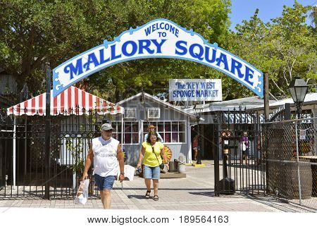 Key West Florida Keys Florida USA - May 15 2017 : Mallory Square historic Old Town the location of the