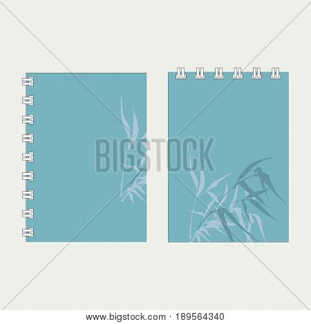 Notebook cover designwith the image of hand-drawing ink illustration. Branches and bamboo leaves. traditional Chinese painting, Japanese art sumi-e, vector