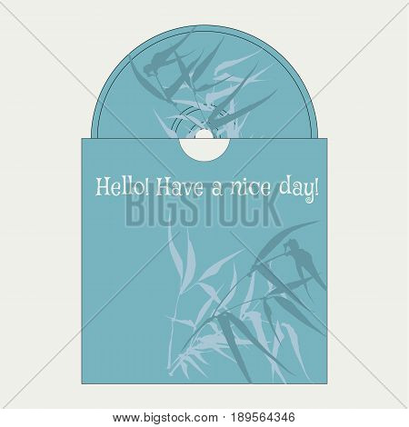 CD cover designwith the image of hand-drawing ink illustration. Branches and bamboo leaves. traditional Chinese painting, Japanese art sumi-e, vector