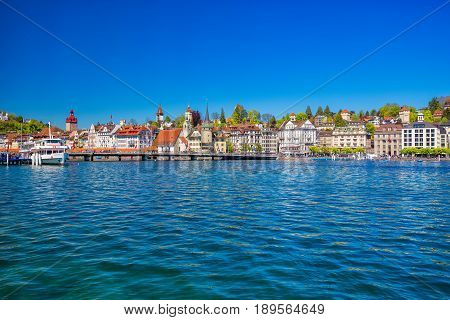 Harbor In Lucerne City With The View Of Lucerne Lake And Promenade.