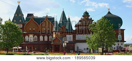 Moscow Russia - May 26? 2017: Kolomenskoe city park. Copy of the palace of the tsar Alexey Mikhaylovich Romanov. It is restored according to old drawings.