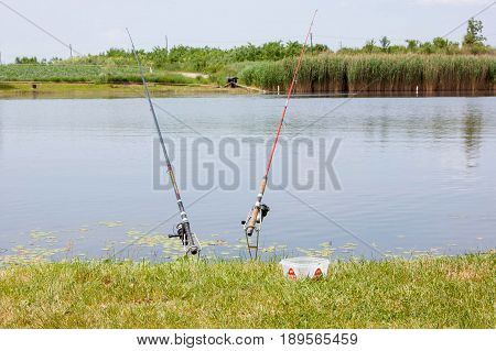 Two fishing rod with the feeder and maggots as bait