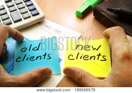 New clients vs old clients. Customer retention concept.