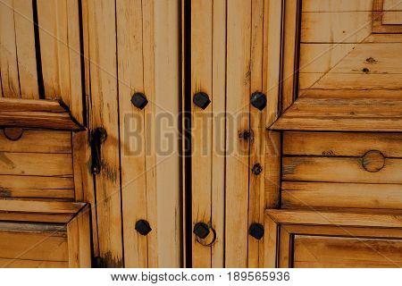 Beautiful brown wooden background door locks view