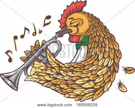 Rooster with Trumpet. Isolated on a White