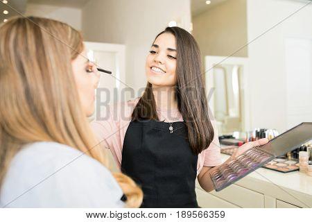 Makeup Artist Applying Some Eyeshadow