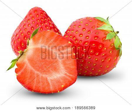 Strawberry isolated on white background, close-up .