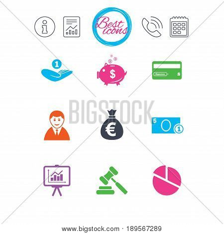 Information, report and calendar signs. Money, cash and finance icons. Piggy bank, credit card and auction signs. Presentation, pie chart and businessman symbols. Classic simple flat web icons. Vector