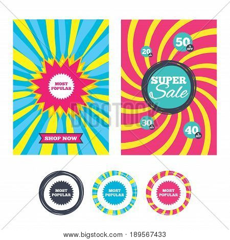 Sale banners and labels. Special offer tags. Most popular sign icon. Bestseller symbol. Colored web buttons. Vector