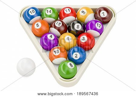 Billiard balls 3D rendering isolated on white background