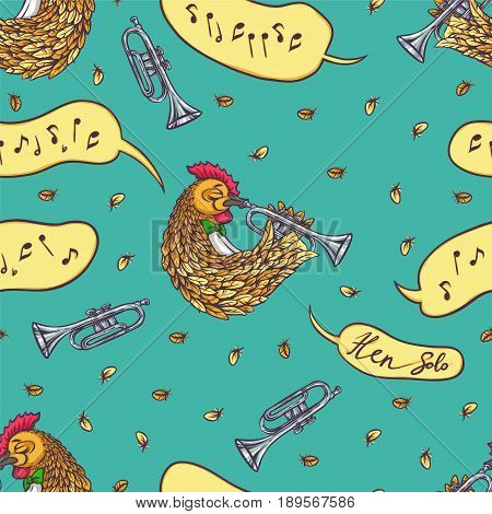Seamless Pattern. Rooster with Trumpet and Sound Effect Bubble on a Blue Background