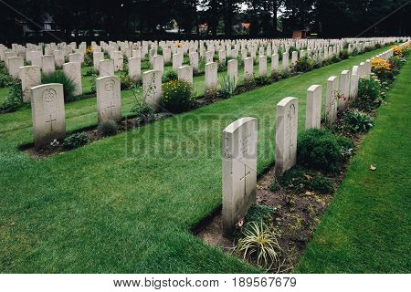 Oosterbeek Netherlands - August 09 2016: Airborne War Cemetery. It is a Commonwealth War Graves Commission cemetery for the soldiers killed in the battle of Arnhem.