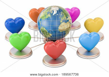 Online dating concept. Earth globe with colored hearts 3D rendering isolated on white background