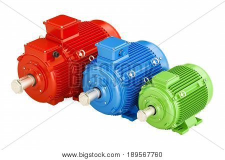 Set of industrial electric motors 3D rendering isolated on white background