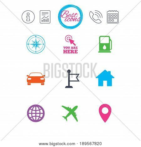 Information, report and calendar signs. Navigation, gps icons. Windrose, compass and map pointer signs. Car, airplane and flag symbols. Classic simple flat web icons. Vector