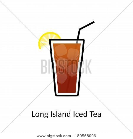 Long Island Iced Tea cocktail icon in flat style. Vector illustration