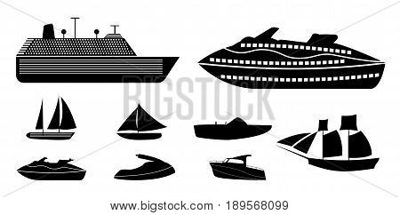 Set of different types of boats for recreation and fishing on river and sea, liners for vacation on ocean. Silhouette Vector Illustration. EPS10