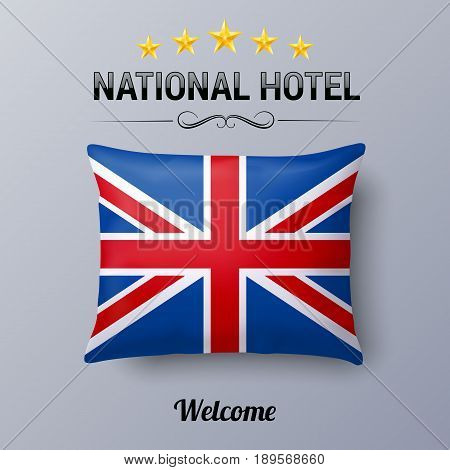 Realistic Pillow and Flag of Great Britain as Symbol National Hotel. Flag Pillow Cover with British flag