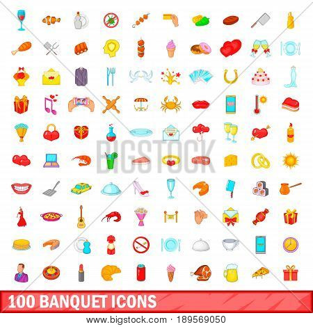 100 banquet icons set in cartoon style for any design vector illustration