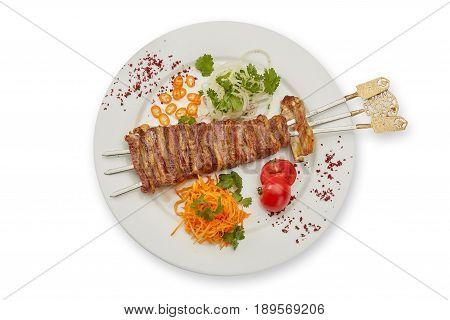 Bacon on skewers on white background isolation