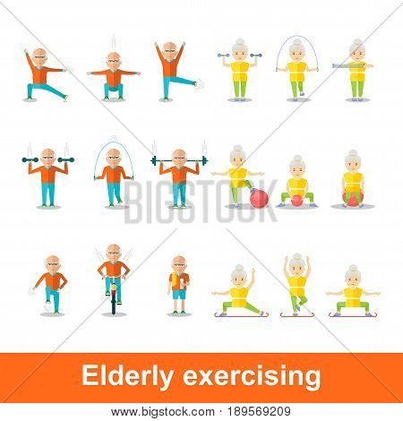 Elderly man and woman doing exercises. Healthy lifestyle active lifestyle. Sport for grandparents. Holding hands couple.Objects isolated on a white background. Flat vector illustration.