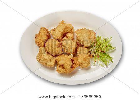 Cauliflower in batter on white background isolation