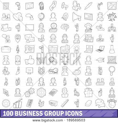 100 business group icons set in outline style for any design vector illustration