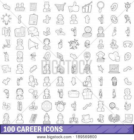 100 career icons set in outline style for any design vector illustration