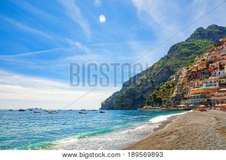 beautiful beach of the town of Positano Amalfi Coast Italy