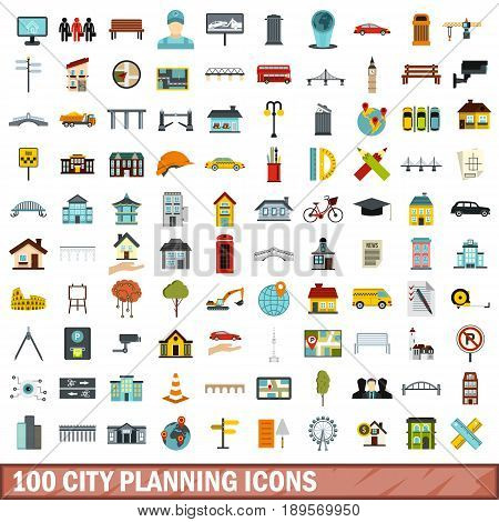 100 city planning icons set in flat style for any design vector illustration