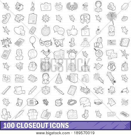 100 closeout icons set in outline style for any design vector illustration