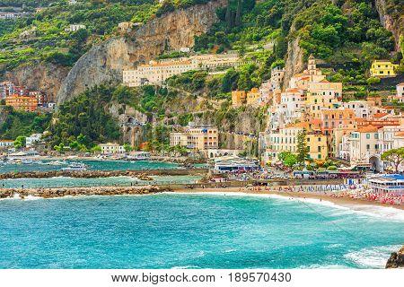 beautiful view of harbor of Amalfi town on Amalfi coast Campania Italy