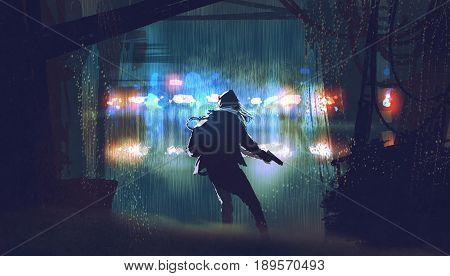 scene of the thief with the gun being caught by police car light at rainy night with digital art style, illustration painting