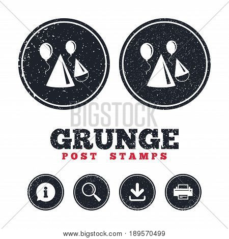 Grunge post stamps. Party hat sign icon. Birthday celebration symbol. Air balloon with rope. Information, download and printer signs. Aged texture web buttons. Vector
