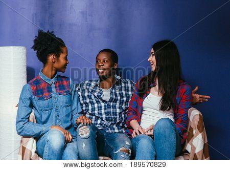 Friends Fun Home Leisure Interracial Friendship Smile Talk Pastime Woman Man Three Concept