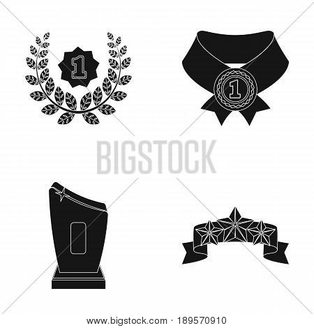 Winner for the first place in the competition, a crystal prize, a ribbon with the stars, a medal on the red ribbon.Awards and trophies set collection icons in black style vector symbol stock illustration .