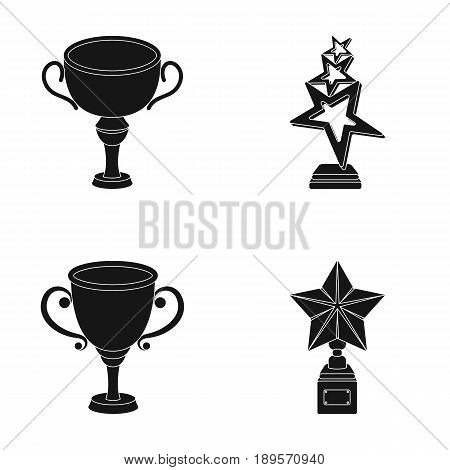 Silver cup for the second place, gold stars on the stand, a cup with a star, a gold cup.Awards and trophies set collection icons in black style vector symbol stock illustration .