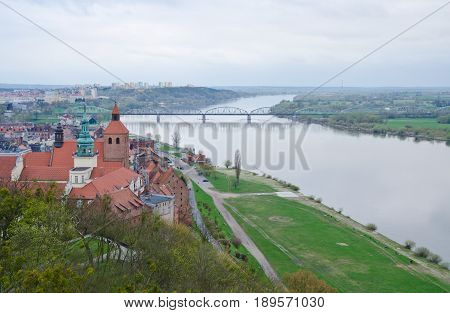 GRUDZIADZ, POLAND. 7th APRIL 2017. The ancient granaries in Grudziądz and this sweeping view of the Vistula are among the attractions drawing an increasing number of tourists to this often-overlooked Polish town.