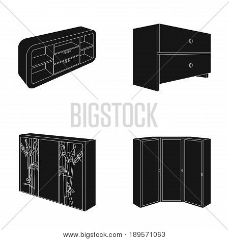 Chest of drawers, wardrobe with mirror, corner cabinet, white chest. Bedroom furniture set collection icons in black style vector symbol stock illustration .