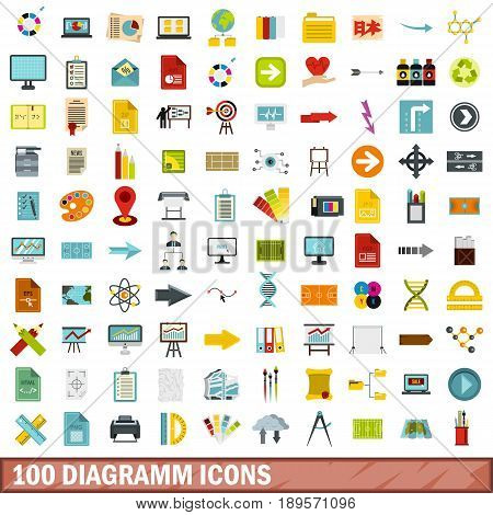 100 diagramm icons set in flat style for any design vector illustration